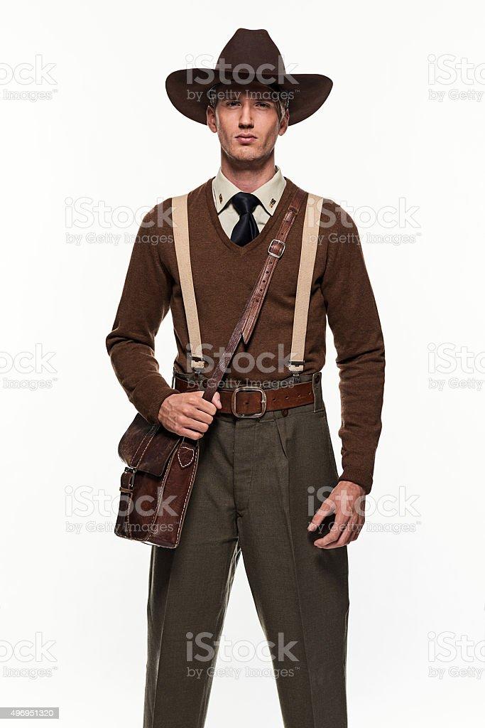 Ranger uniform fashion man against white background. stock photo