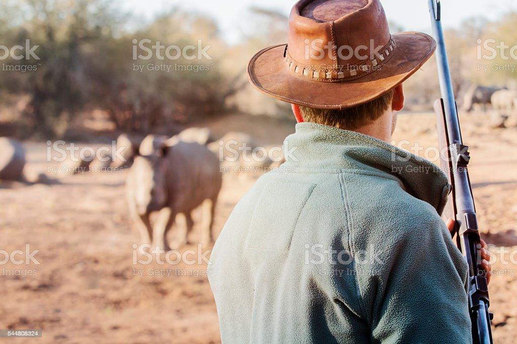 Ranger with firearm face to face rhino stock photo