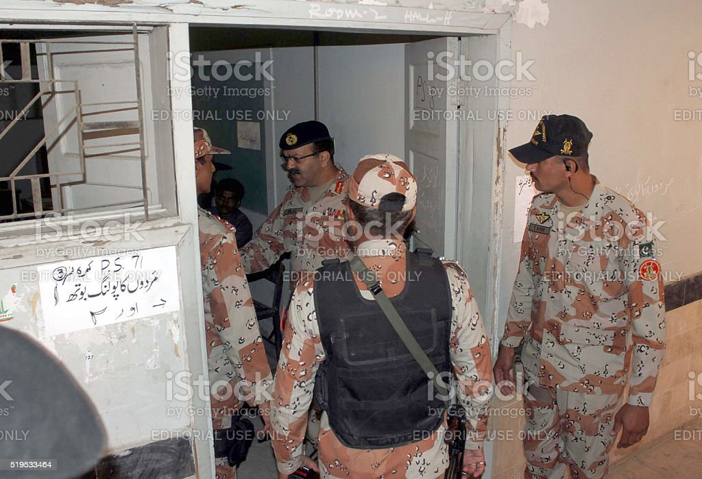 D.G Rangers Sindh visiting polling station stock photo