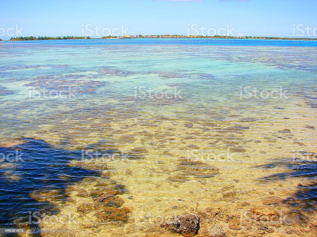 Rangiroa blue lagoon motu from turquoise waters, Polynesia royalty-free stock photo