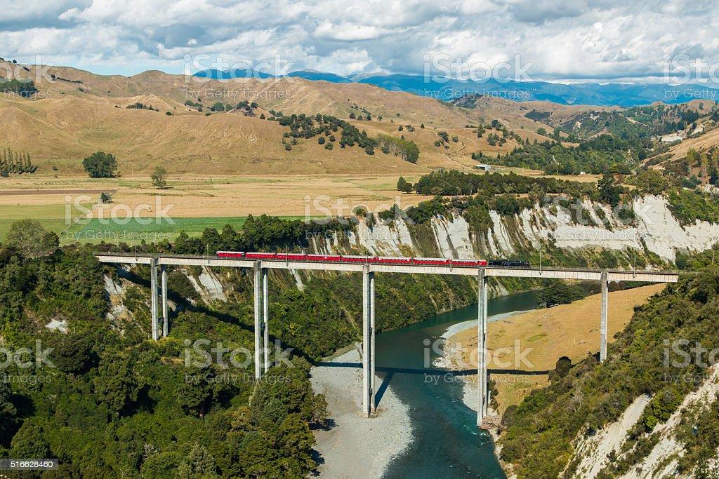 Rangitikei River Trestle Bridge stock photo