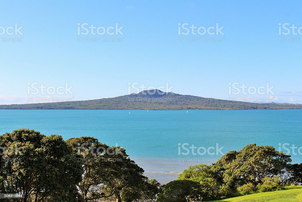 Rangitoto across the channel stock photo