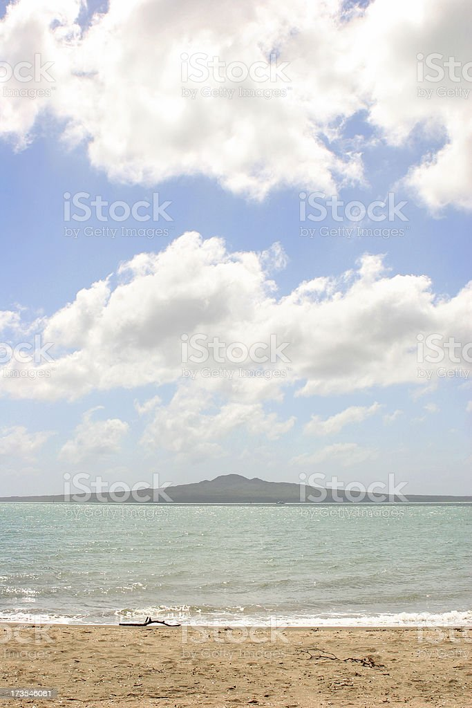 Rangitoto at Mission Bay, Auckland, New Zealand royalty-free stock photo