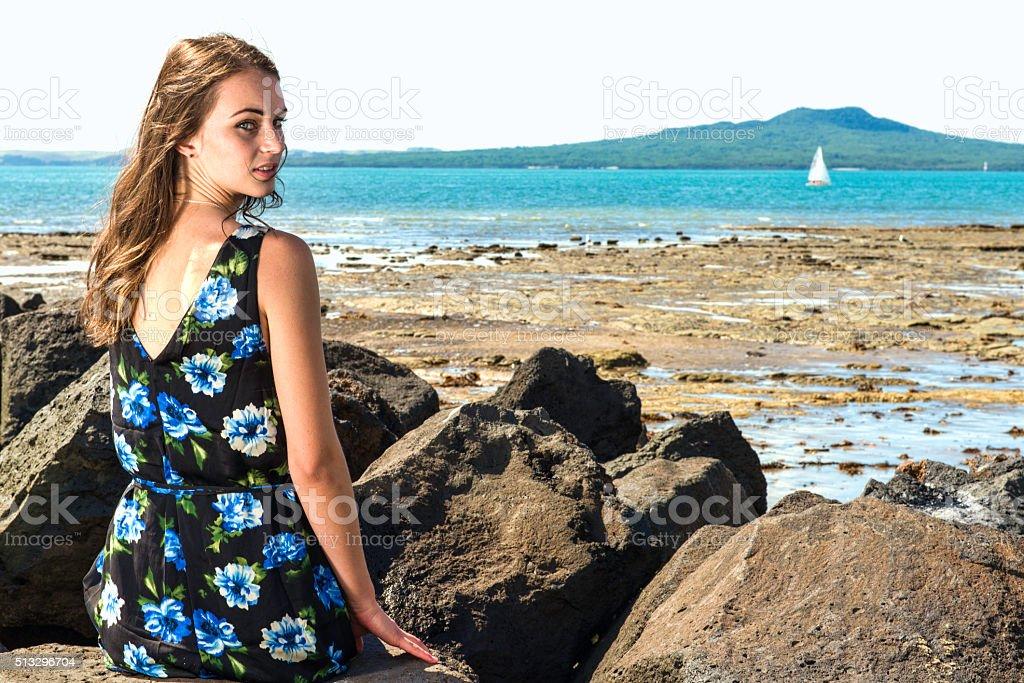 Rangitoto girl stock photo