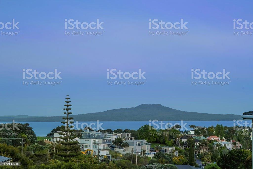 Rangitoto Island at Blue Hour stock photo
