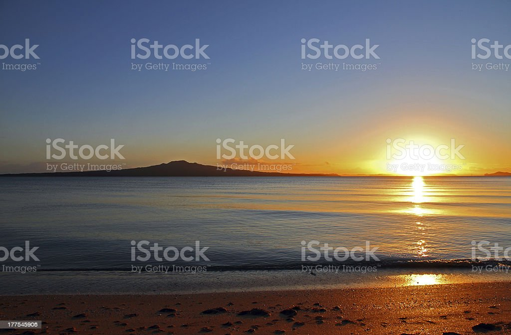 Rangitoto Island Sunrise stock photo