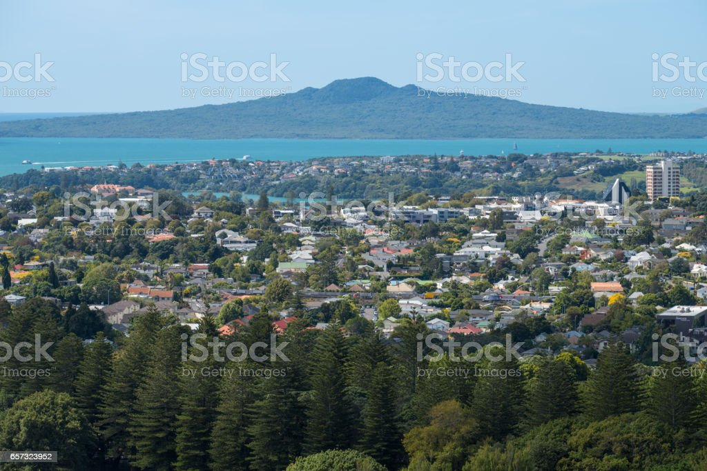 Rangitoto Island the largest volcano in Auckland, North Island, New Zealand. stock photo