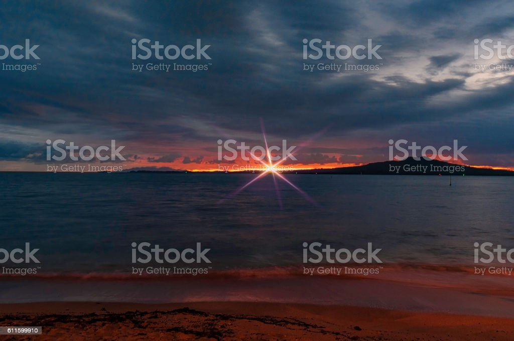 Rangitoto Island with flare stock photo
