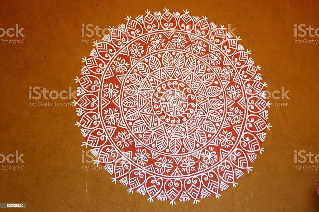 Rangoli- an Indian traditional power drawing stock photo