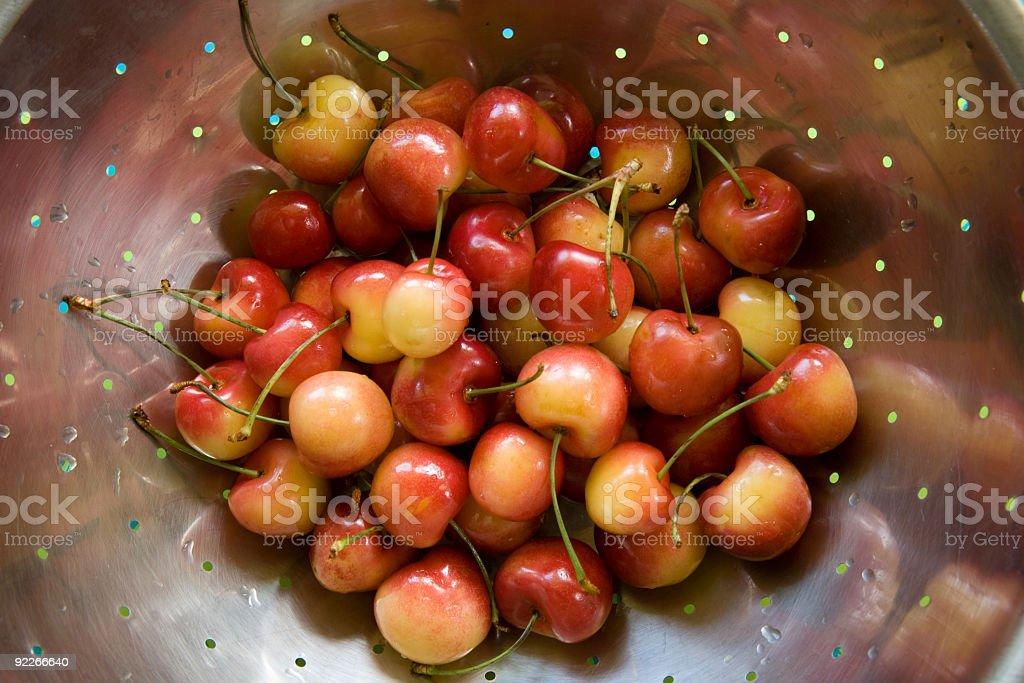 Ranier Cherries in Colander royalty-free stock photo