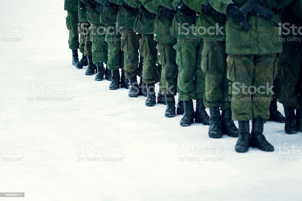 Rank of Russian soldiers stock photo