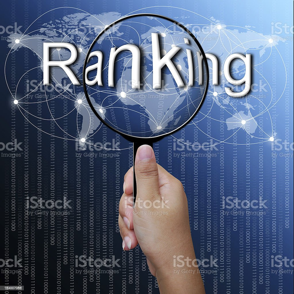 Ranking, word in Magnifying glass,network background royalty-free stock photo