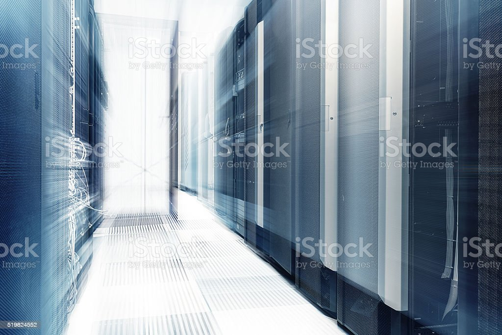 ranks of modern server hardware in data center stock photo