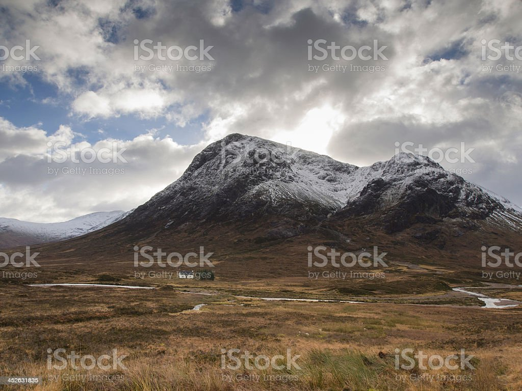 Rannoch Moor and Buachaille Etive Mor at wintertime. stock photo