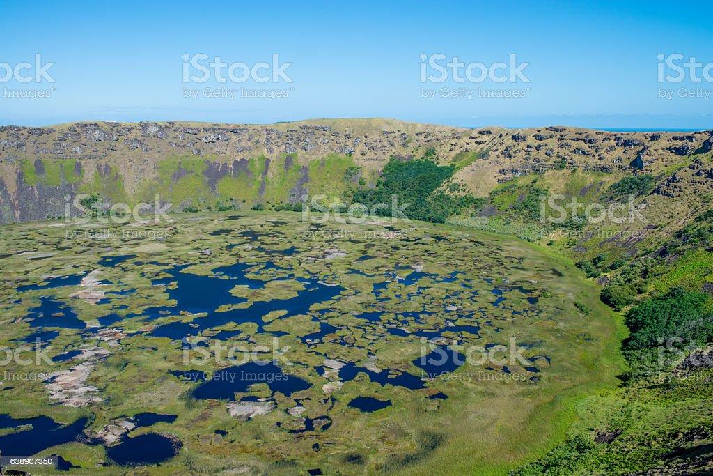Rano Kau, Chile stock photo