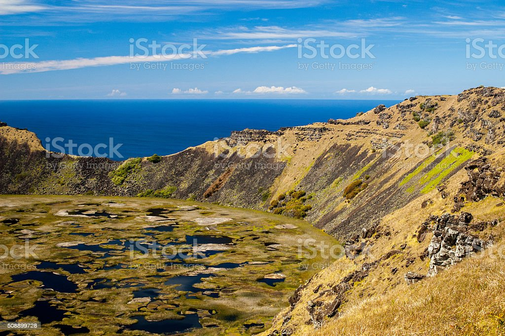 Rano Kau Crater at Easter Island stock photo