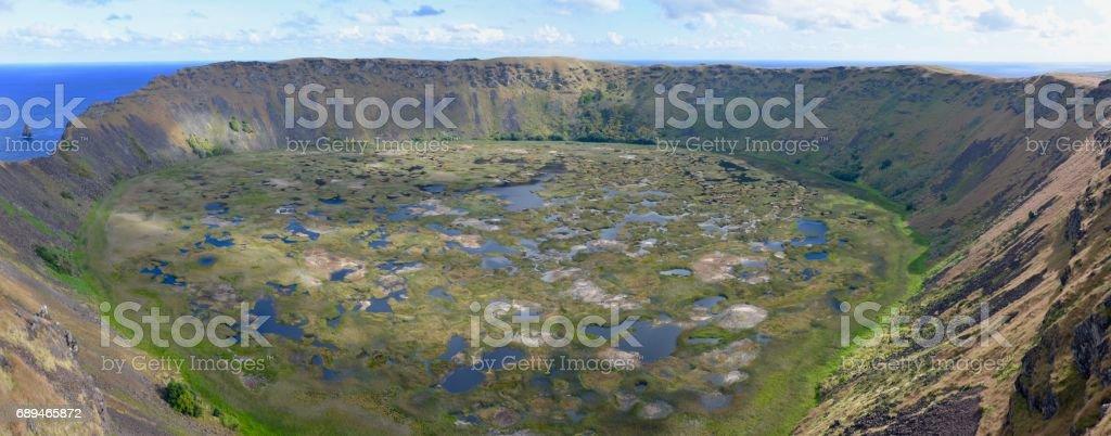 Rano Kau crater, Easter Island stock photo