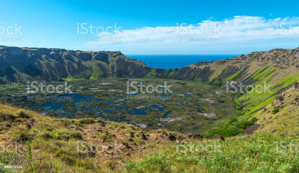 Rano Kau Volcanic Crater stock photo