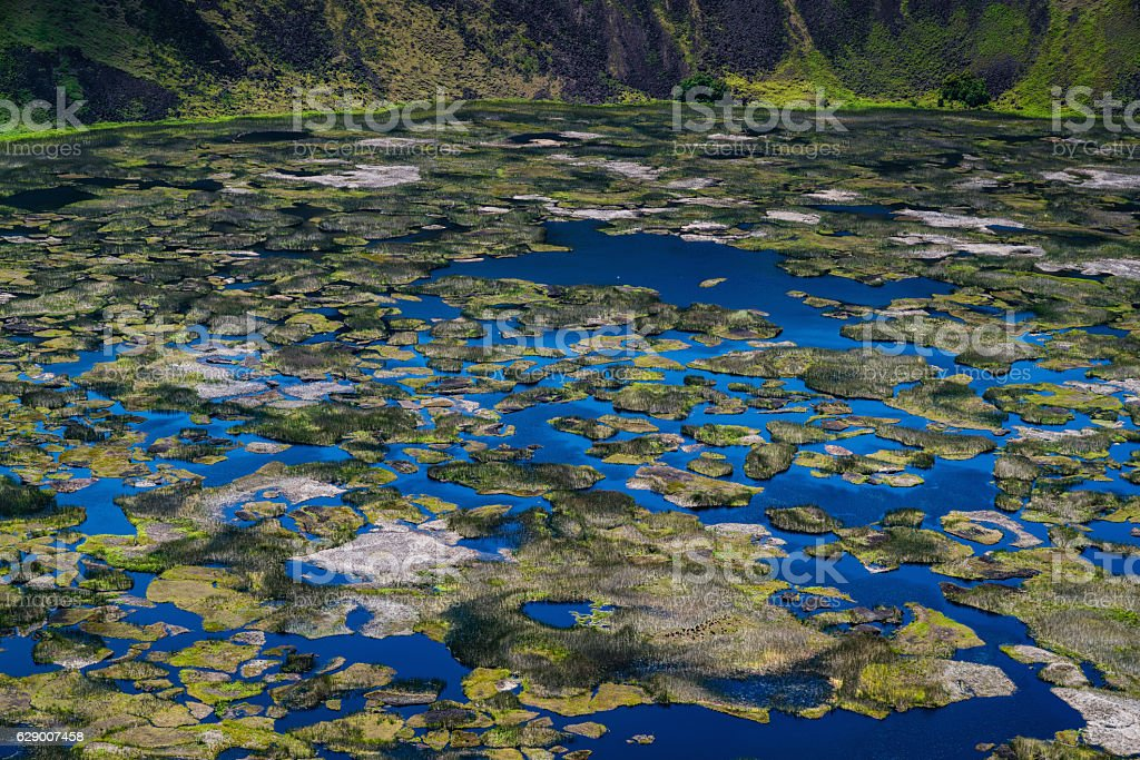 Rano Kau Volcano Crater Lake Easter Island Chile stock photo