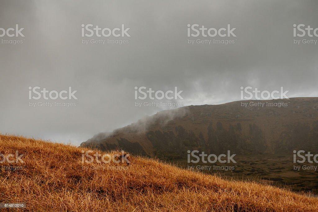 Rano Kau volcano stock photo