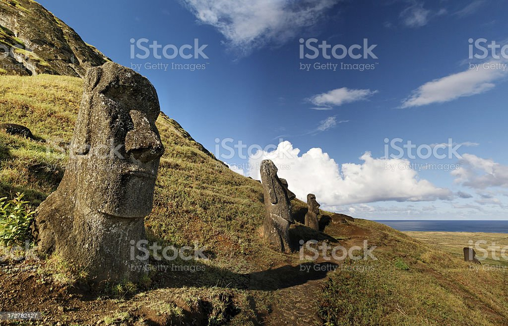 Rano Raraku Easter Island royalty-free stock photo