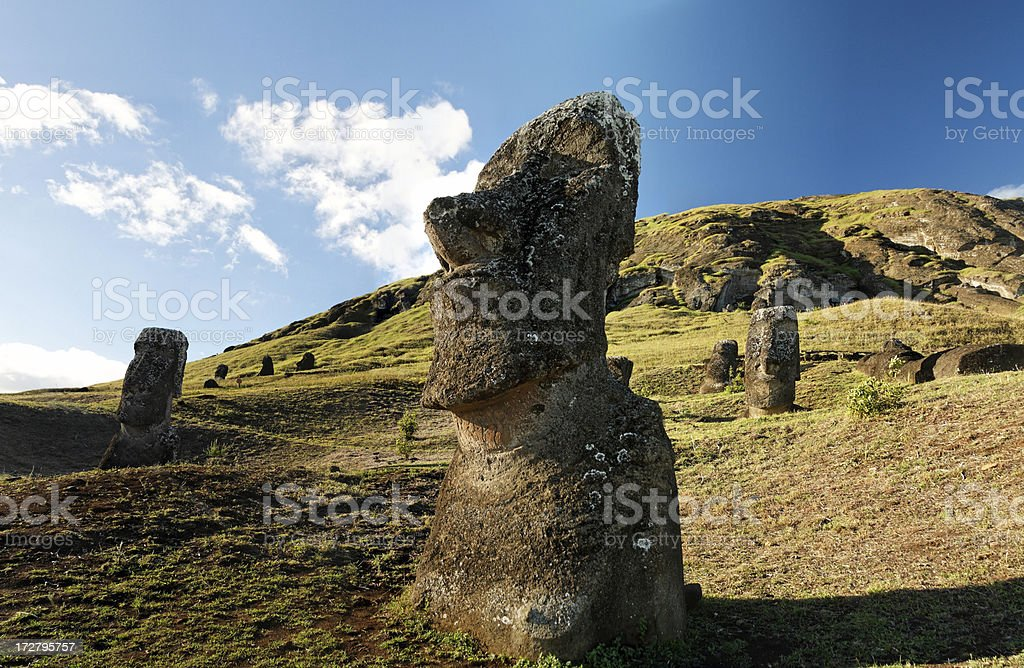 Rano Raraku Easter Island stock photo