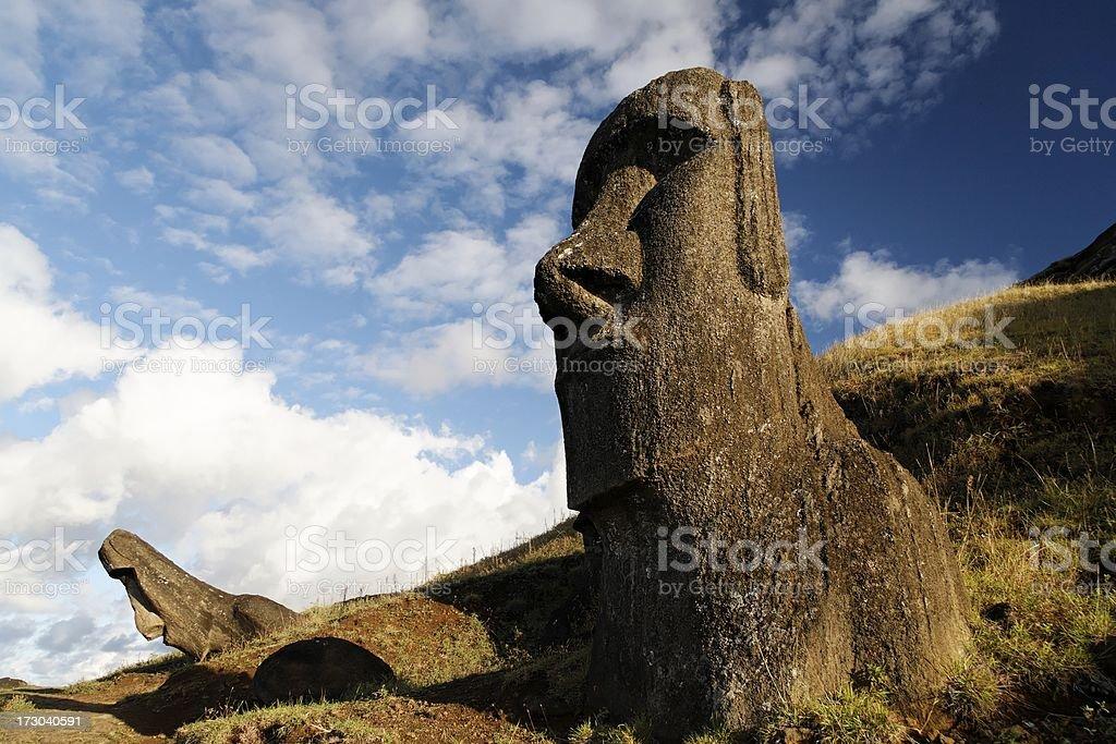 Rano Raraku Moai Easter Island royalty-free stock photo