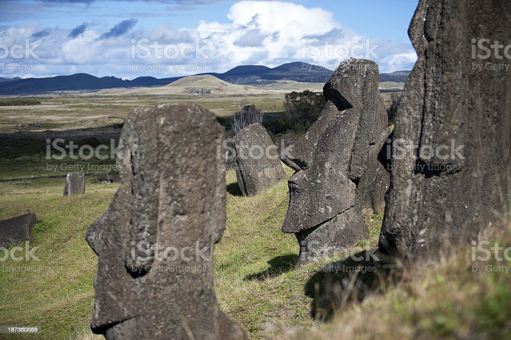 rano raraku moais royalty-free stock photo