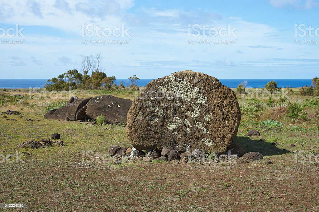 Rano Raraku on Easter Island stock photo