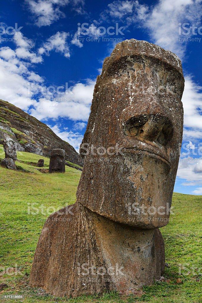 Rano Raraku Quarry - Easter Island royalty-free stock photo