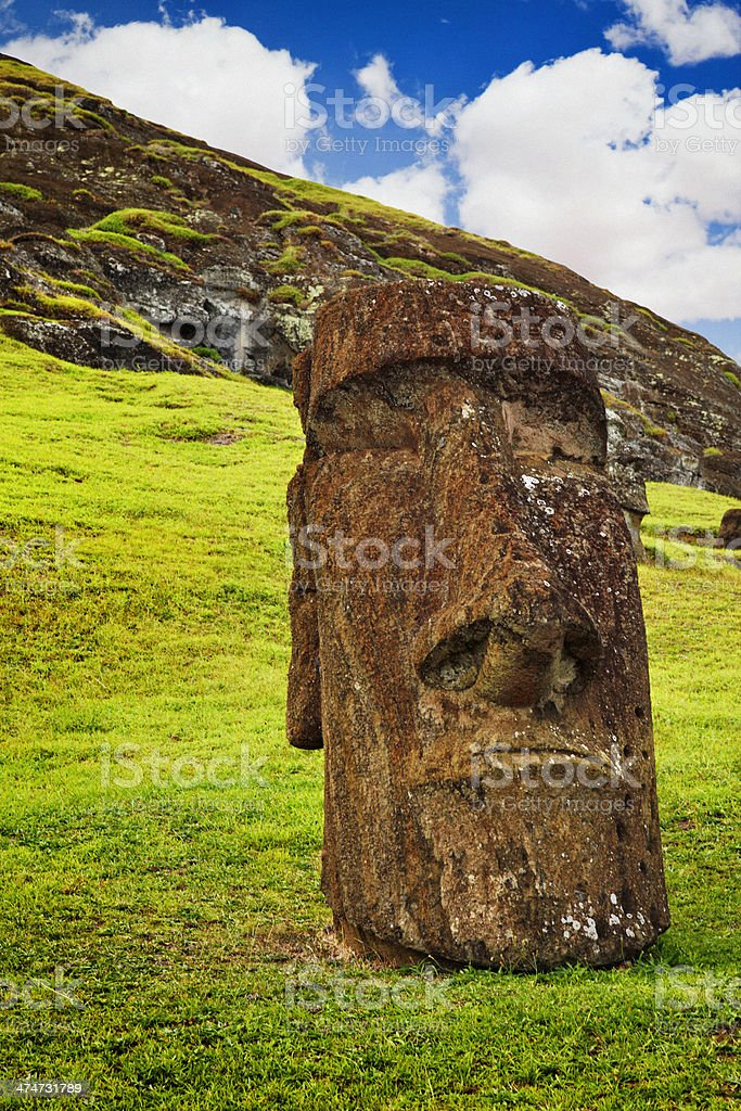 Rano Raraku Quarry - Easter Island stock photo