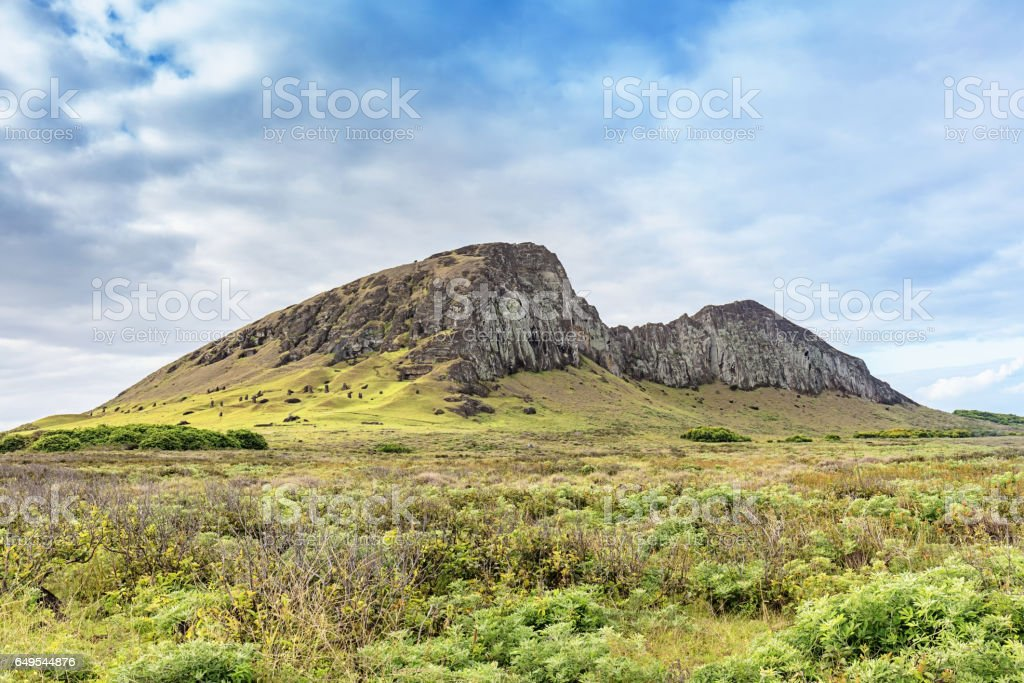 Rano Raraku Vocanic Crater Rapa Nui National Park Easter Island stock photo