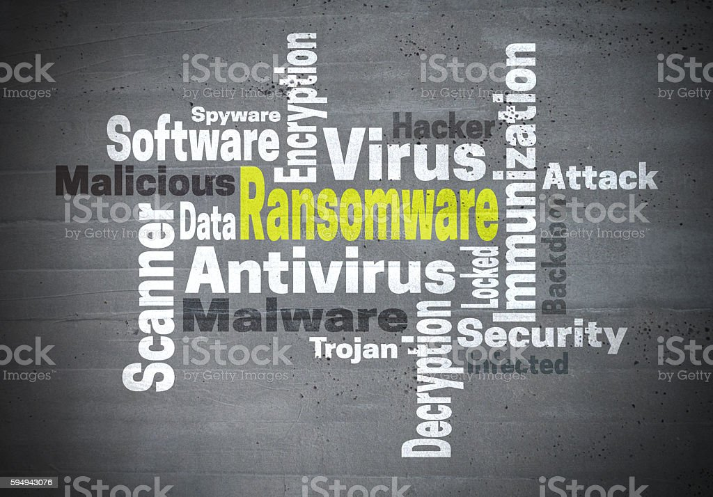 Ransomware antivirus immunization word cloud concept stock photo