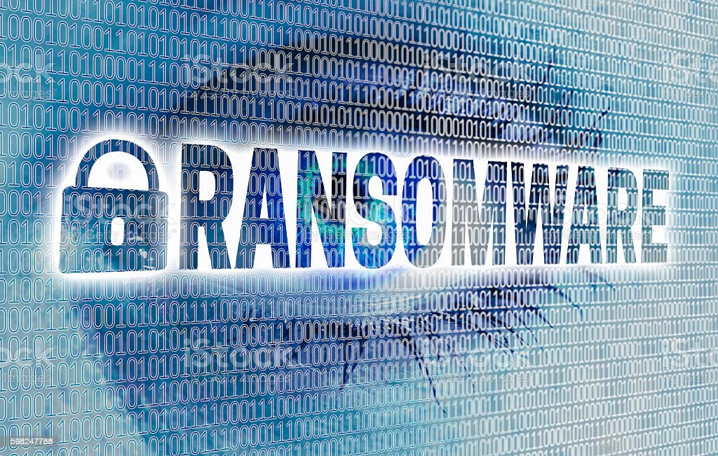 Ransomware eye with matrix looks at viewer concept stock photo