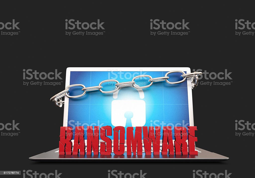 Ransomware Notebook stock photo