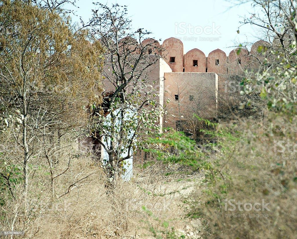 Ranthambore Fort walls and gate, Rajasthan, India stock photo