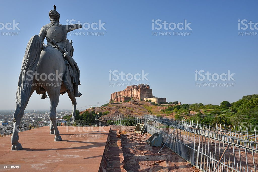 Rao Jodha Statue in Jodhpur stock photo