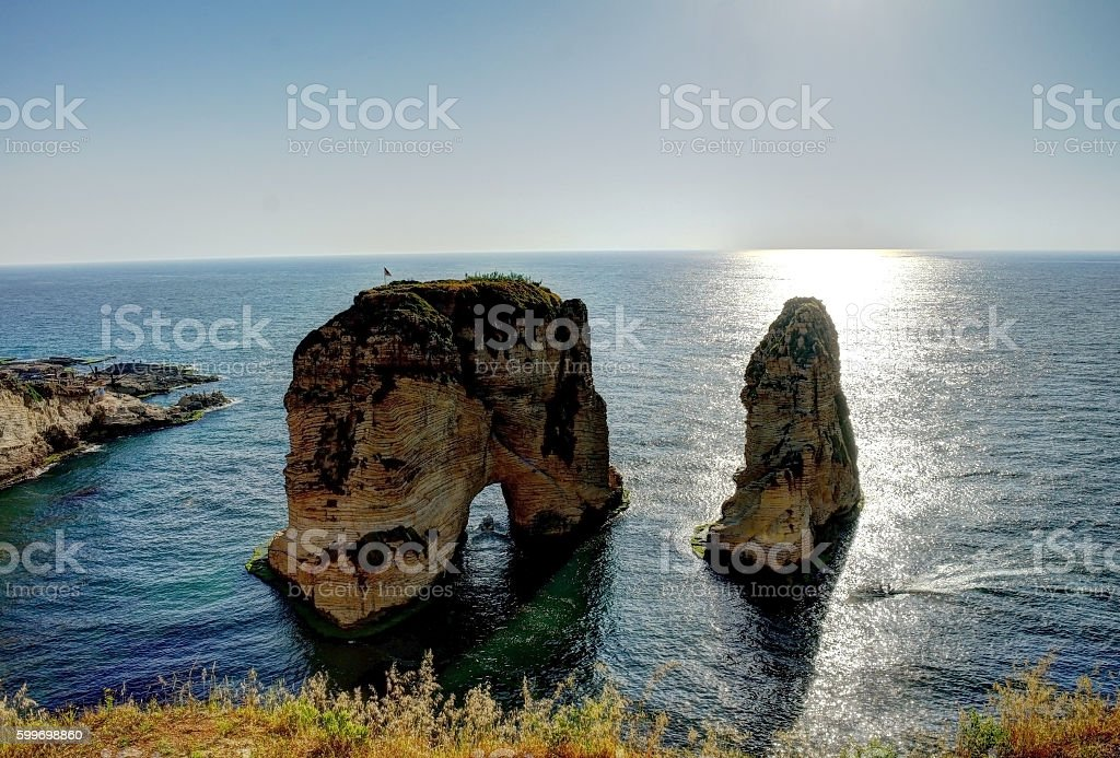 Raouche or Pigeon Rock, Beirut, Lebanon stock photo