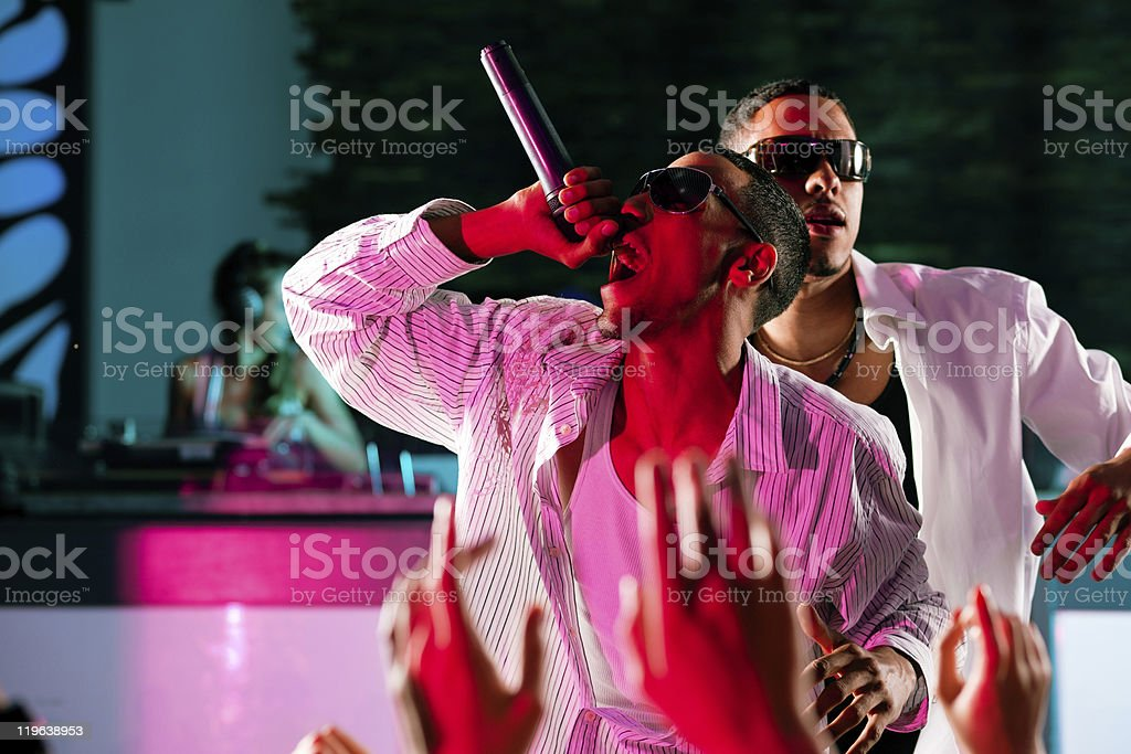 Rap or Hip-Hop Musicians performing on stage stock photo