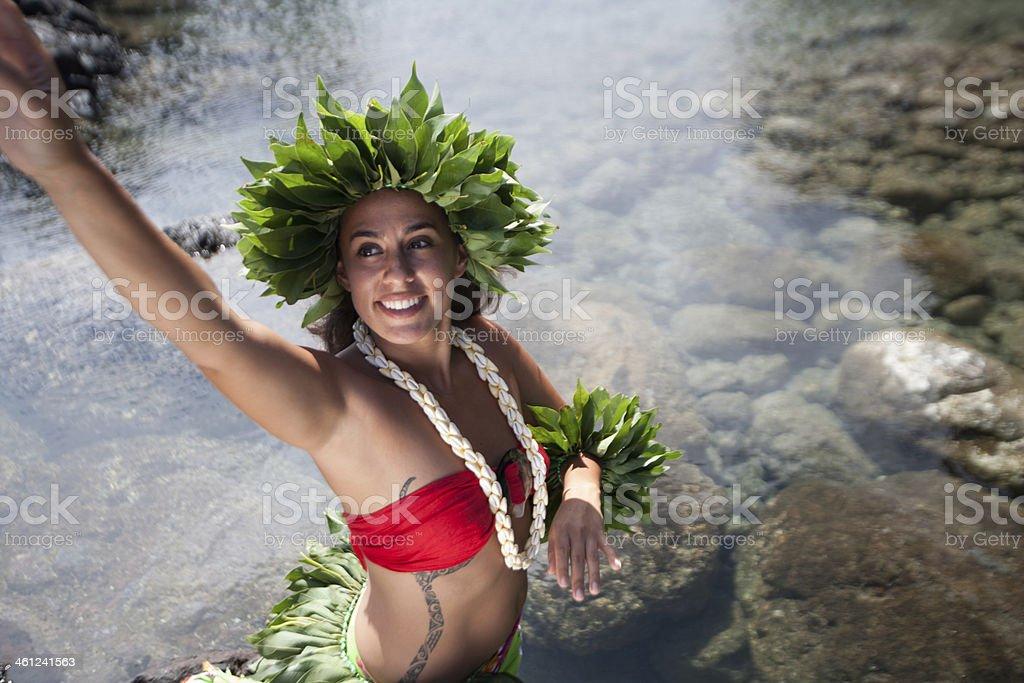 Rapa Nui Girl Costume royalty-free stock photo