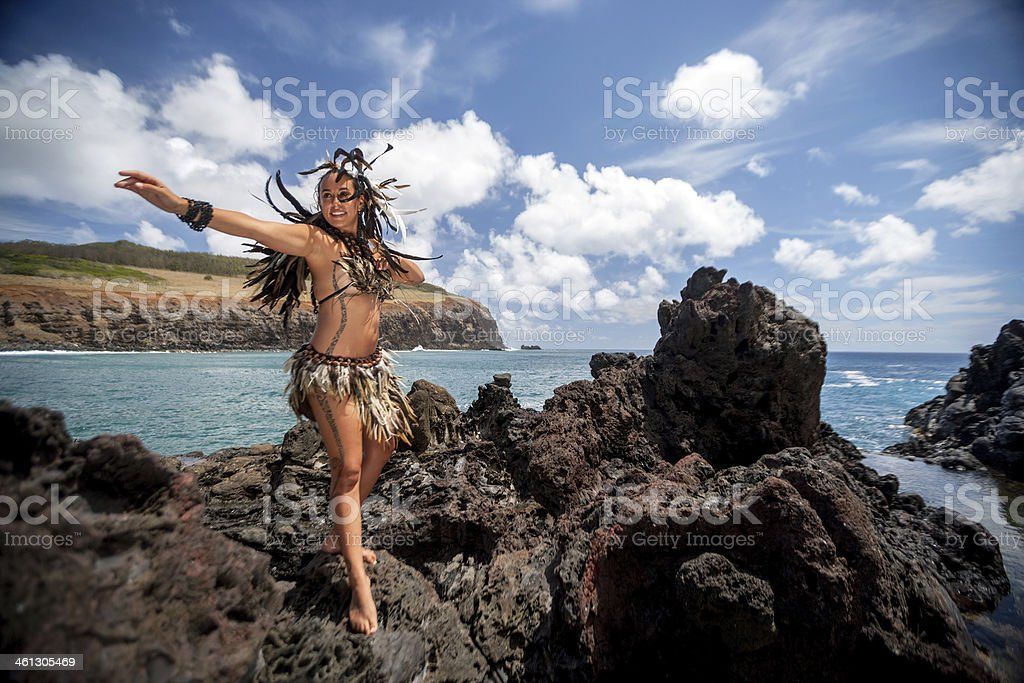 Rapa Nui in the Coast stock photo