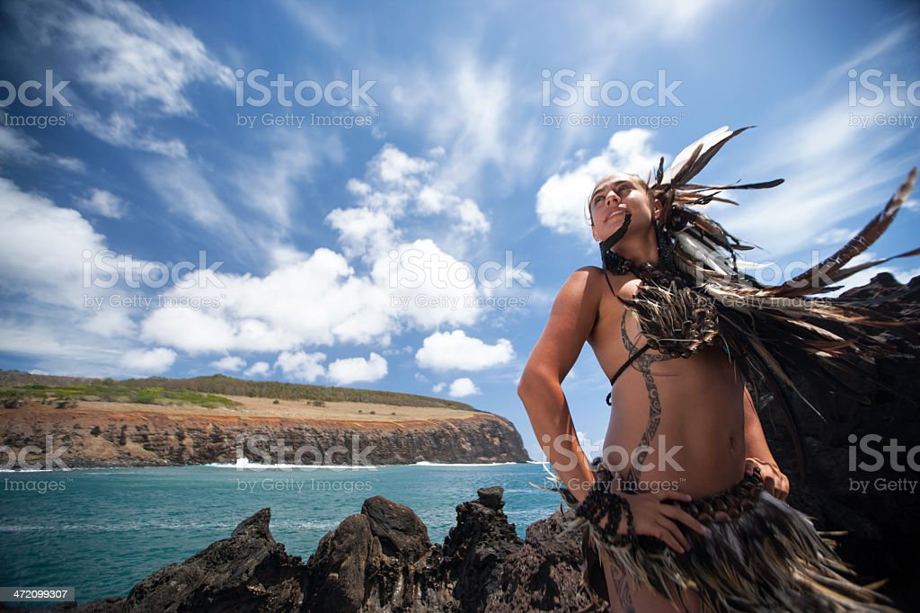 Rapa Nui Pose stock photo