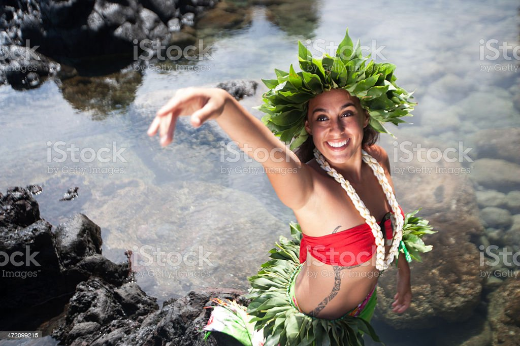 Rapa Nui Woman Gesturing royalty-free stock photo