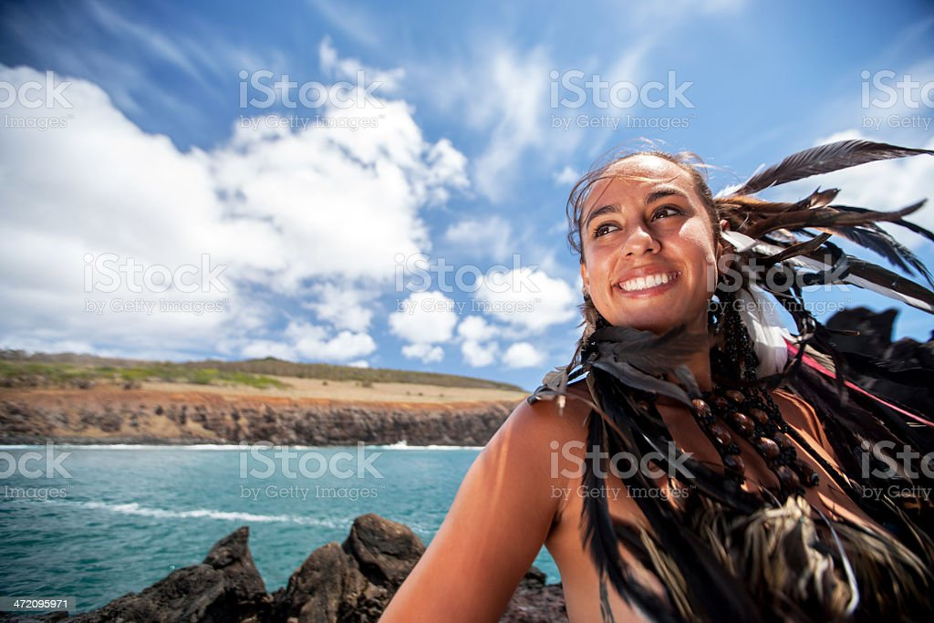Rapa Nui Woman stock photo
