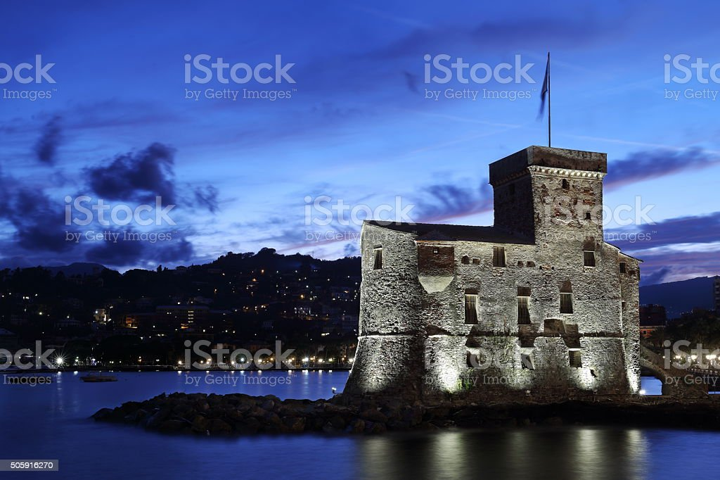 Rapallo in the evening, Italy stock photo