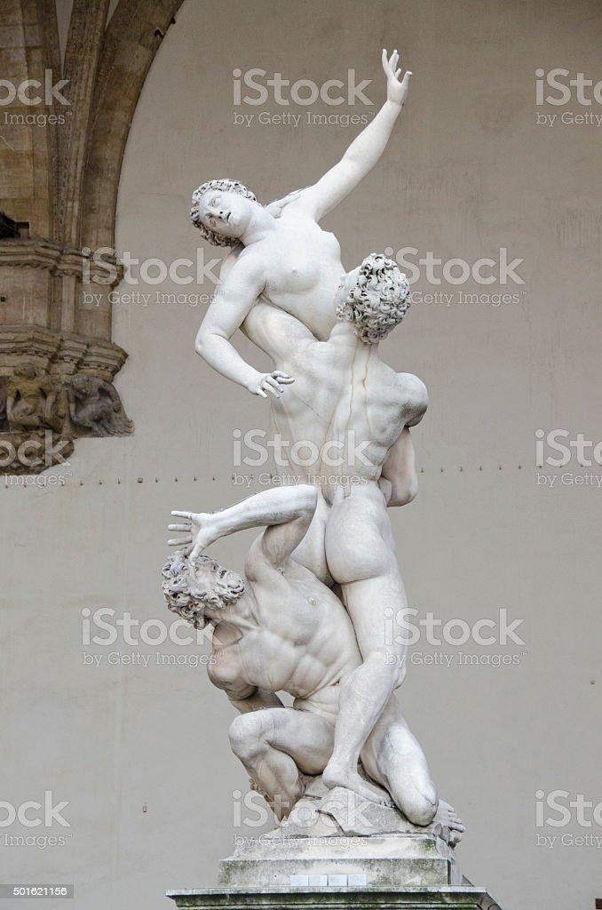 Rape of the Sabine Woman Statue in Loggia dei Lanzi stock photo