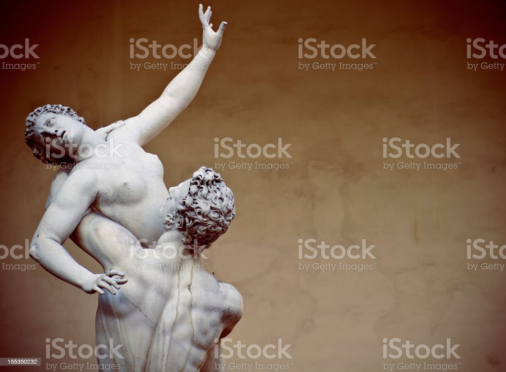 Rape of the Sabine Women statue in Florence stock photo