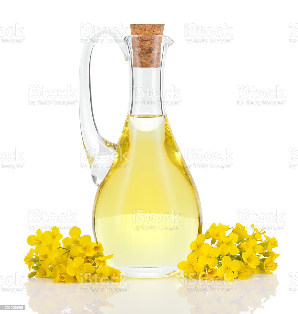 Rapeseed oil and flowers isolated over white. stock photo