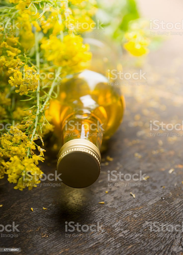 Rapeseed Oil with fresh rape plant stock photo