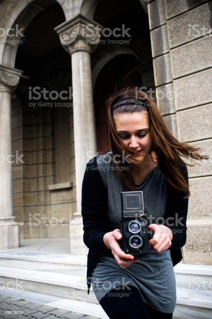 Rapid Photographer with an old camera... royalty-free stock photo